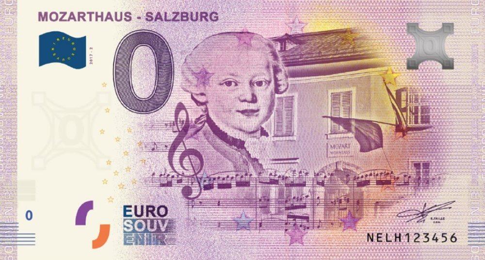 Mozart 0 Euro Banknote: Mozart im Galakleid