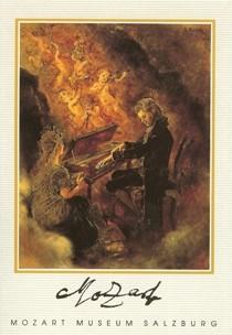 Postkarte: Mozart am Spinett mit Vision