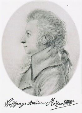 Postkarte: W. A. Mozart Silberstiftzeichnung von Doris Stock