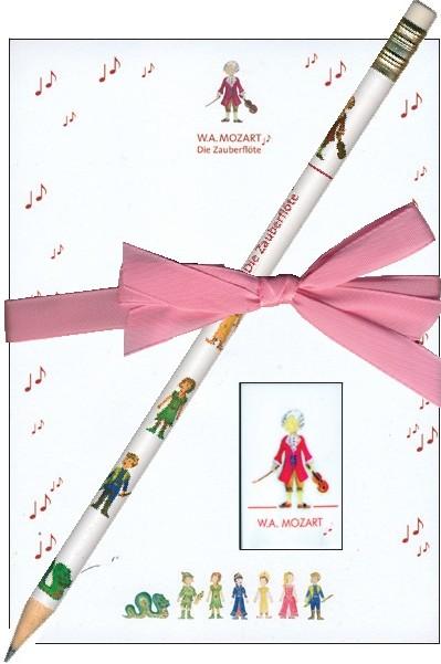 Notizblock: Zauberflöte klein, Bleistift & Radiergummi